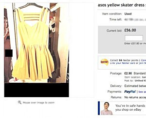 Girl selling a yellow dress on ebay.